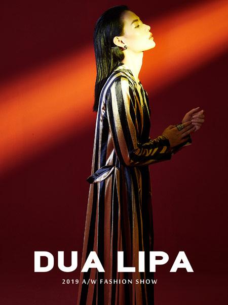 DUA LIPA女装品牌2019秋季新款长袖条纹修身百搭连衣裙
