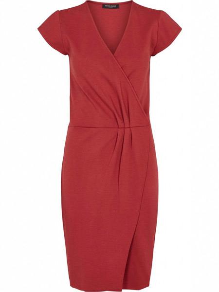 Bruuns Bazaar 女装品牌2019春夏新款修身纯色简约名媛短袖连衣裙