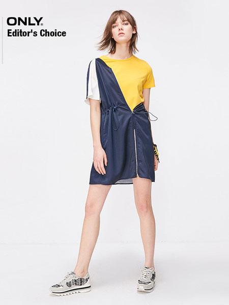ONLY女装品牌2019春夏新款简约风格纹中长款A摆连衣裙