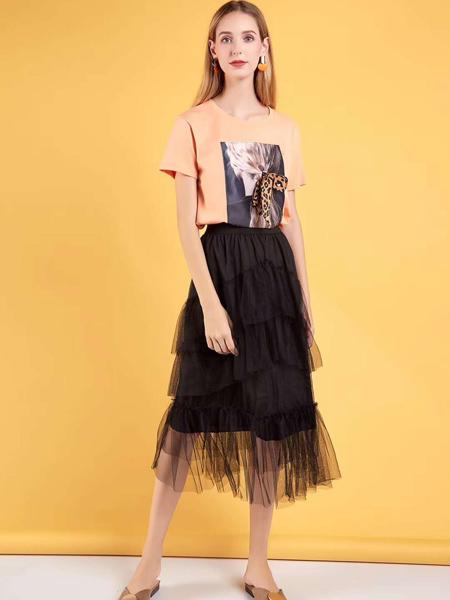 新佳娜休闲品牌2019春夏新款洋气短袖t恤上衣网纱裙半身蛋糕裙很仙的套装