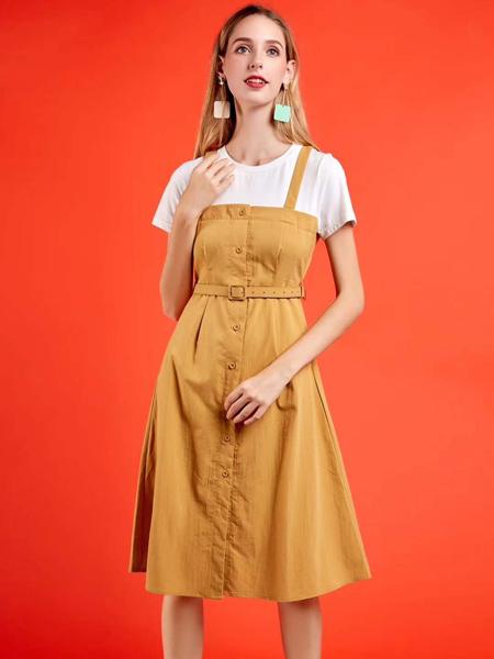 新佳娜休闲品牌2019春夏新款OL洋气女装假两件拼接连衣裙遮肚子显瘦