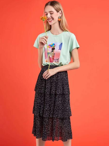 新佳娜休闲品牌2019春夏新款小个子高腰中长款不规则波点字半身裙