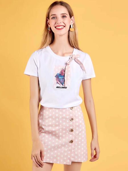 新佳娜休闲品牌2019春夏新款仙女气质减龄粉色波点套装裙