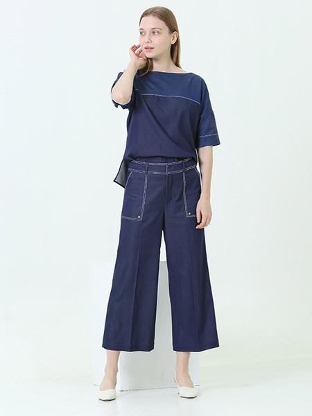 阿菁娜-A.JINGNA女装品牌2019春夏新款时尚气质修身百搭阔腿裤套装