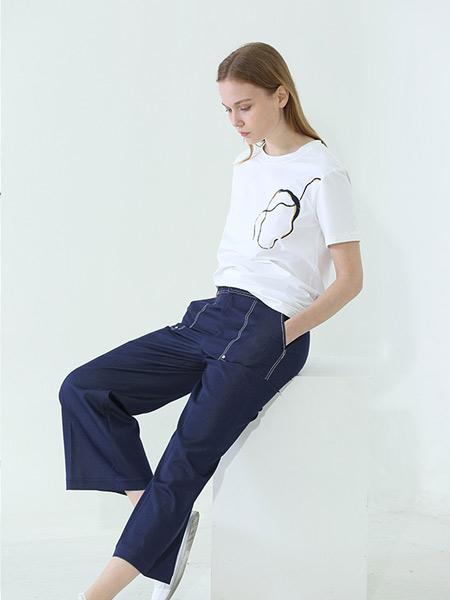 阿菁娜-A.JINGNA女装品牌2019春夏新款时尚高腰系带工装阔腿长款牛仔连体休闲裤