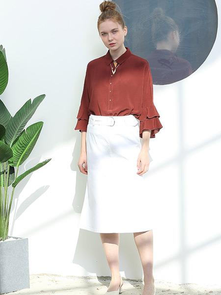 阿菁娜-A.JINGNA女装品牌2019春夏新款纯色小衫简约知性长袖衬衣