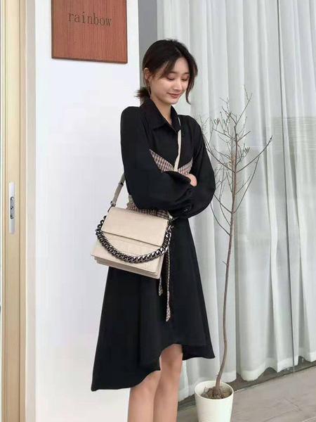 索代箱包品牌2019春夏新款链条手拎牛皮时尚单肩斜跨包三层
