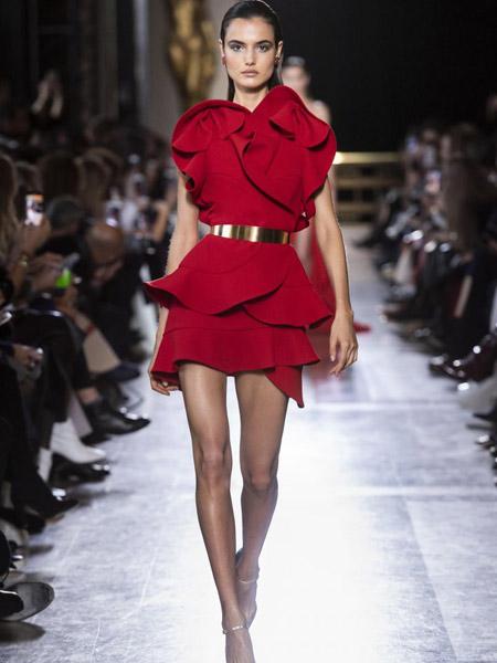 Elie Saab艾莉・萨博女装品牌2019春夏新款木耳边短款礼服裙时尚大牌范儿配金属腰带红色