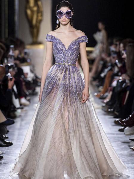 Elie Saab艾莉・萨博女装品牌2019春夏新款甜美一字肩名媛气质宴会晚礼服