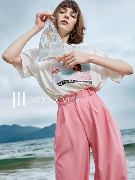 MOODEVER女装品牌2019秋季新款韩版个性印花短袖T恤宽松百搭圆领套头打底上衣潮