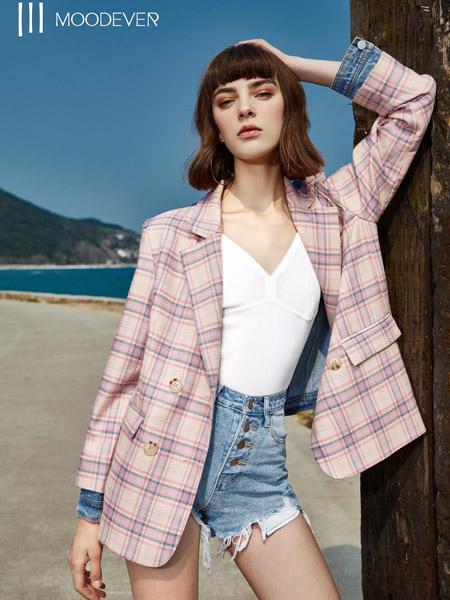 MOODEVER女装品牌2019秋季新款韩版气质宽松格纹西服外套