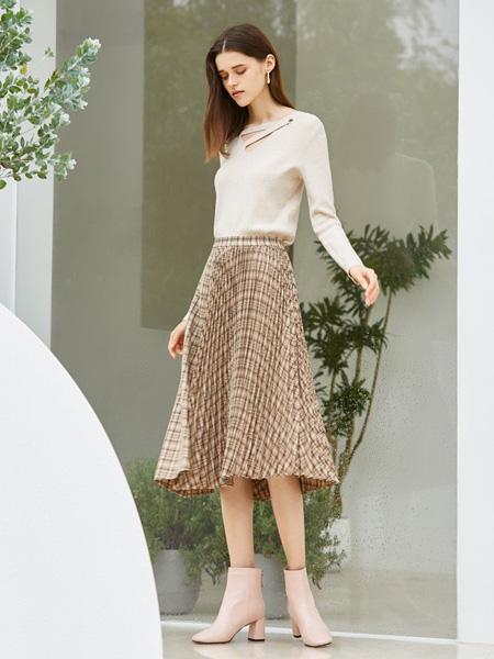 MSLE蜜偲莉尔女装品牌2019秋季新款显瘦宽松中长款撞色条纹a字半身裙