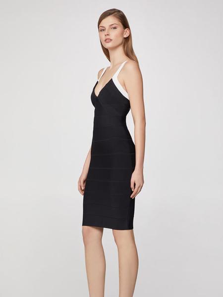 Herve Leger荷芙妮格女装品牌2019春夏新款复古修身条纹吊带连衣裙