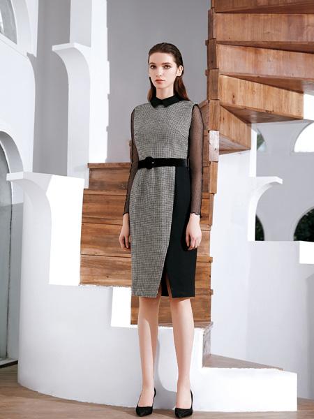 JAOBOO 乔帛女装品牌2019秋冬新款修身显瘦拼接收腰包臀职业连衣裙