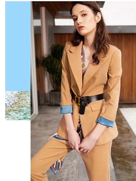 魅之女女装品牌2019秋季新款时尚收腰显瘦百搭气质翻领单排扣外套套装
