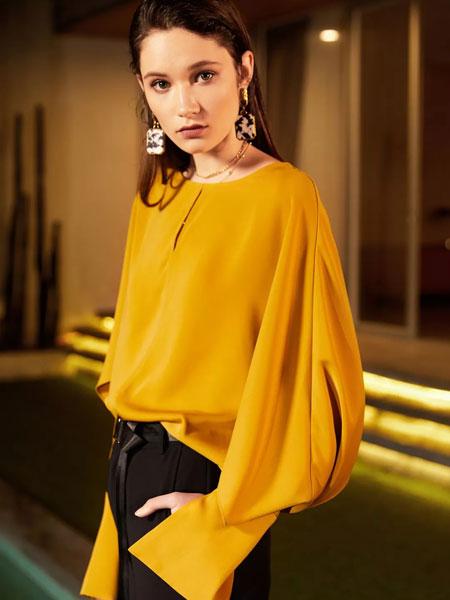 魅之女女装品牌2019秋季新款韩版百搭时尚荷叶边衬衫柔美雪纺上衣