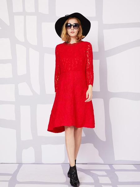 安姬曼女装品牌新款长袖拼接蕾丝连衣裙修身中长款打底裙