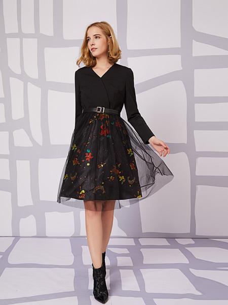 安姬曼女装品牌新款直筒宽松气质过膝大码连衣裙