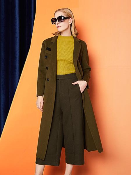 安姬曼女装品牌新款气质修身双排扣翻领长款外套