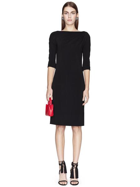 朗雯 女装品牌2019春夏新款圆领套头条纹A字裙收腰五分袖撞色拼接连衣裙