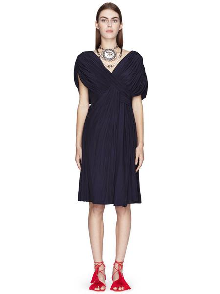 朗雯 女装品牌2019春夏新款v领黑色针织复古长款连衣裙