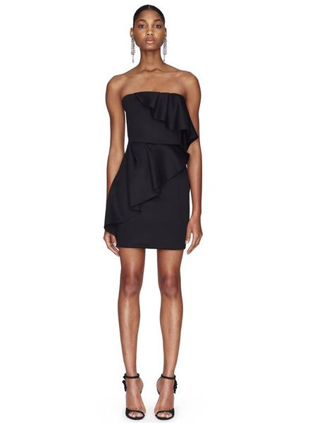 朗雯 女装品牌2019春夏新款温柔的荷叶边气质抹胸连衣裙短裙