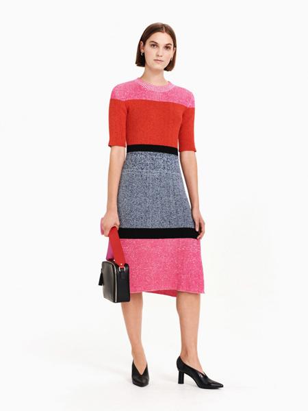 Marimekko女装品牌2019春夏新款时尚拼接针织连衣裙