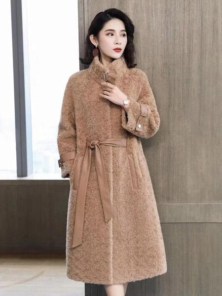 娅奈儿女装品牌2019秋冬新款时尚优雅气质百搭中长款外套