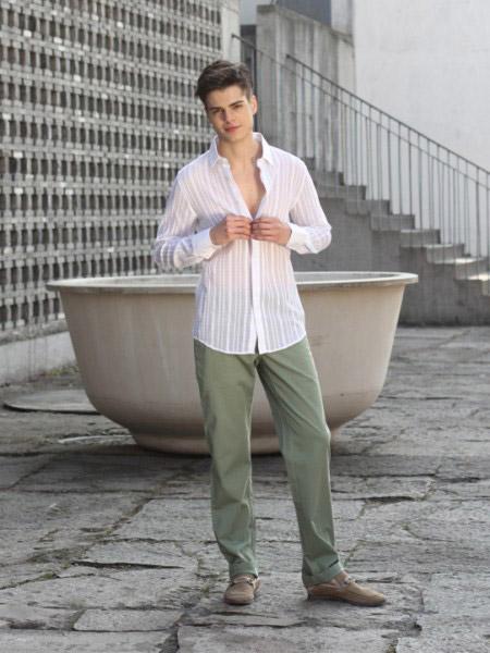 卡思·威尔男装品牌新款时尚休闲百搭衬衫