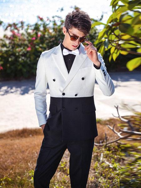 格度佐致男装品牌2019春夏男装黑白色双排扣羊毛西装外套