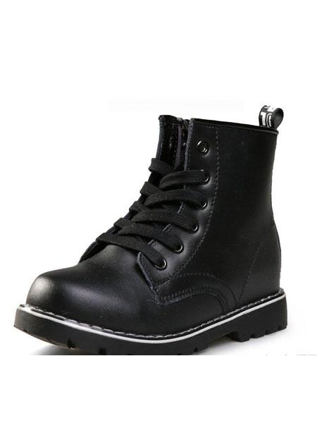 骆步鞋帽/领带品牌2019春夏新款真皮女童低筒短靴中大童