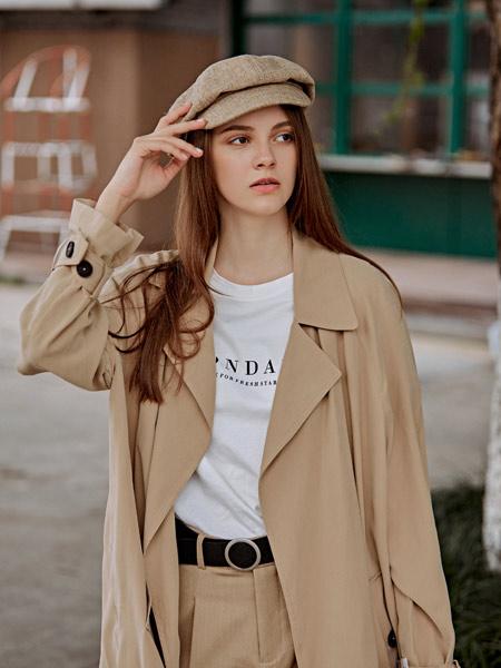 雀啡女装品牌2019秋冬新款韩版长款收腰显瘦系带风衣外套