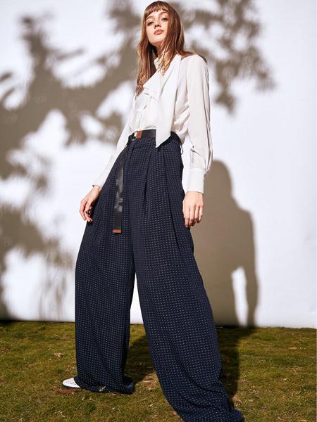 雀啡女装品牌2019秋冬新款飘带高腰直筒垂感阔腿裤