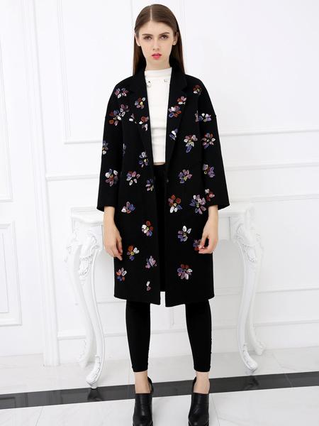 雀啡女装品牌2019秋冬新款修身显瘦韩版中长款翻领外套