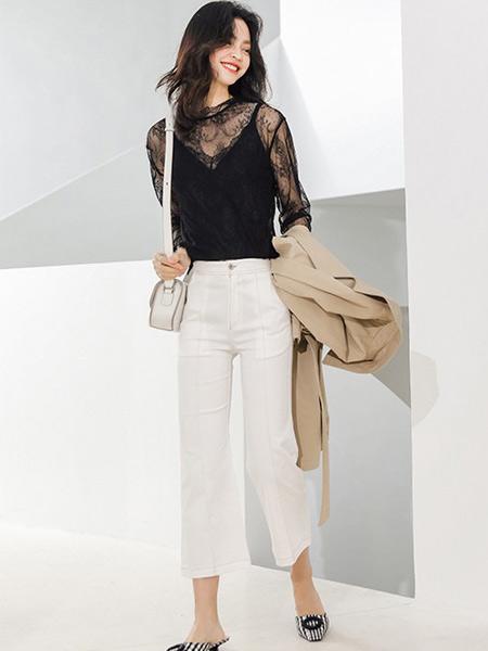 藏九女装品牌2019秋季新款超仙气质网纱蕾丝吊带两件套潮