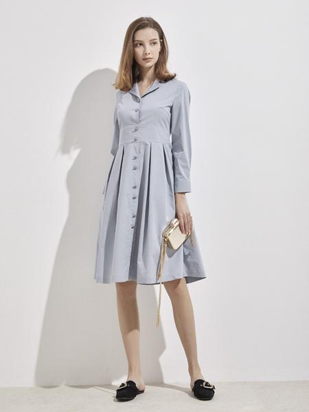你即永恒女装品牌2019秋季新款修身 简约时尚 中长款衬衫连衣裙