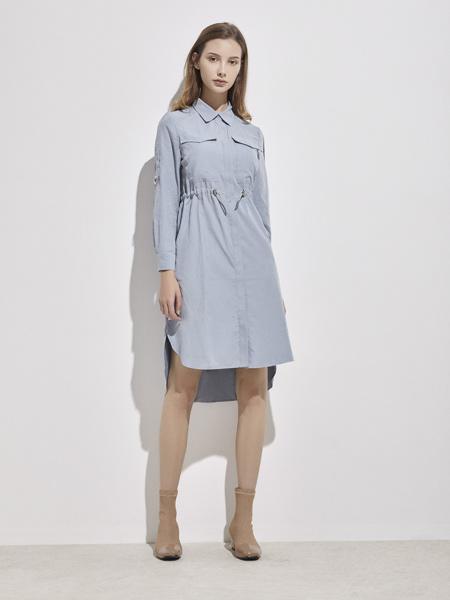 你即永恒女装品牌2019秋季新款系带收腰衬衫裙女蓝色短袖连衣裙