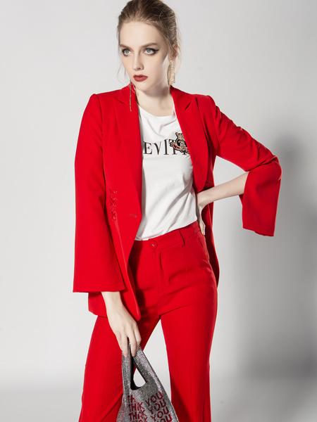 JA&EXUN女装品牌2019秋季新款时尚气质韩版休闲大红西服职业外套