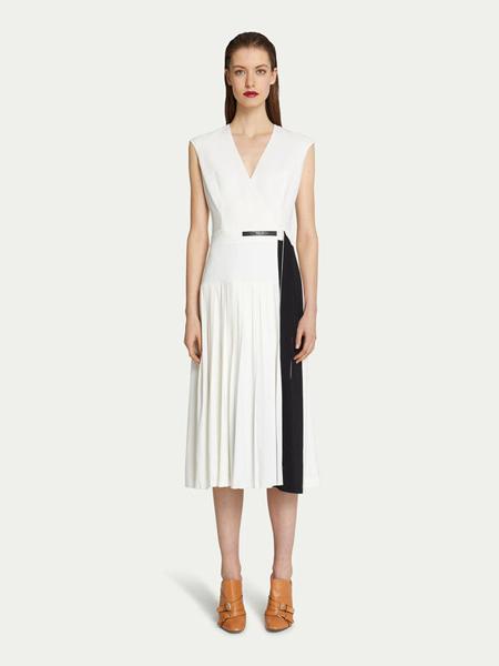 楚萨迪女装品牌2019春夏新款撞色腰带无袖高腰连衣裙