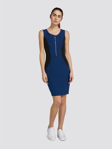 楚萨迪女装品牌2019春夏新款拼接撞色束腰铅笔裙包身连衣裙