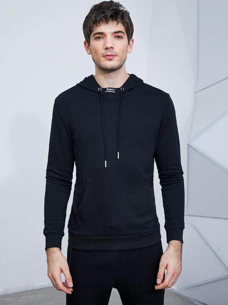 比森战狼男装品牌2019秋季新款韩版时尚潮流圆领黑色休闲卫衣