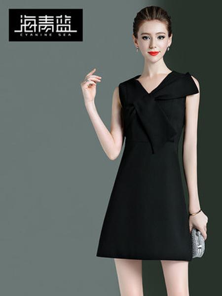 海青蓝女装品牌2019春夏新款通勤气质a字裙v领修身显瘦拼接短款连衣裙