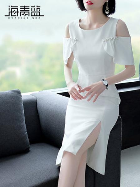 海青蓝女装品牌2019春夏新款露肩修身开叉纯色连衣裙