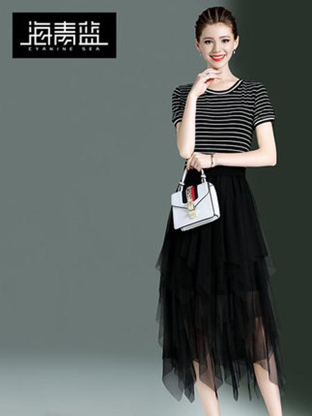 海青蓝女装品牌2019春夏新款时尚休闲百褶裙条纹拼接收腰网纱连衣裙