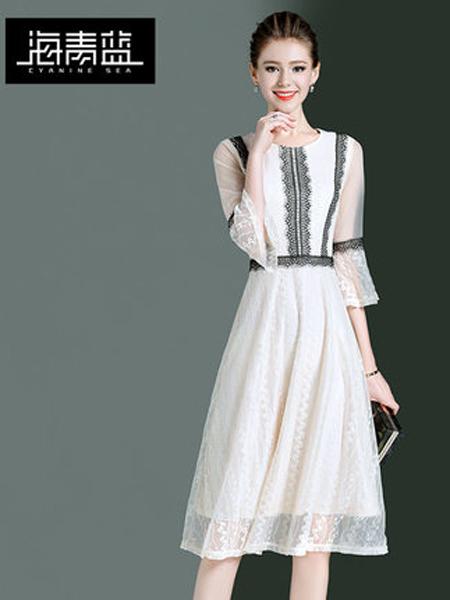 海青蓝女装品牌2019春夏新款收腰显瘦蕾丝气质连衣裙