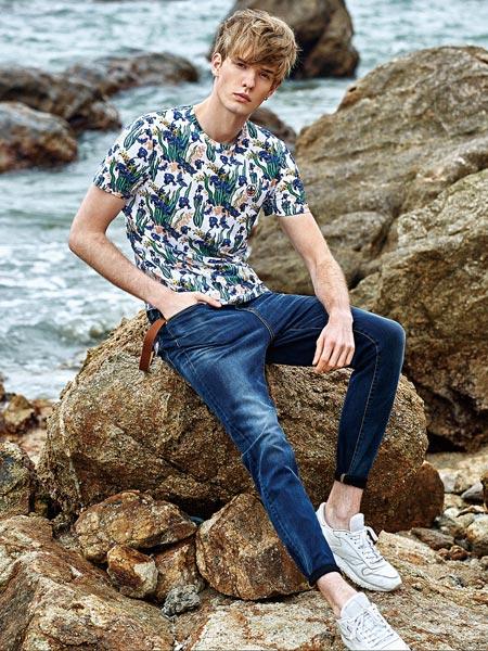 杰欧里顿男装品牌2019春夏新款时尚优雅修身印花短袖T恤