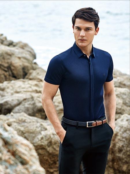 杰欧里顿男装品牌2019春夏新款时尚商务休闲短袖衬衣