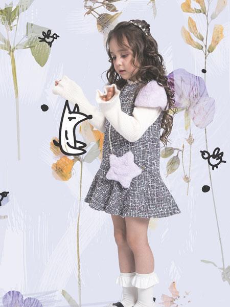 水孩儿童装品牌2019秋冬女童连衣裙儿童吊带背心裙洋气潮针织