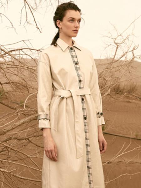 抹上女装品牌2019秋季新款韩版休闲系腰带中长款风衣外套