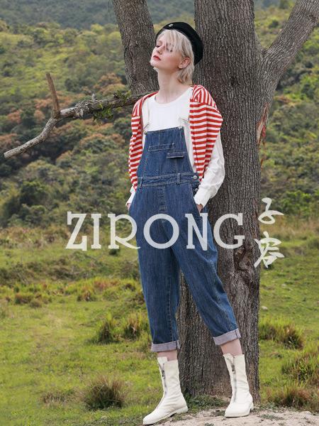 子容女装品牌2019秋季新款纯棉宽松双侧纽扣设计牛仔背带裤